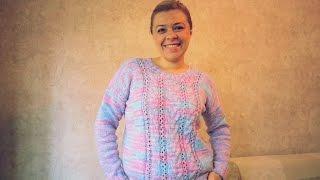 Download Летний вязаный пуловер со жгутами и ажурными полосками. Спицы. МК. Очень простой! Video