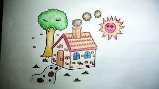 Download บ้านน้อย สอนวาดรูปการ์ตูนง่ายๆ ระบายสี How to Draw a House for Kids Step by Step Video
