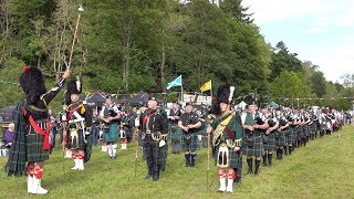 Download Massed Pipes & Drums parade and Salute to Chieftain for finale of the 2019 Drumtochty Highland Games Video