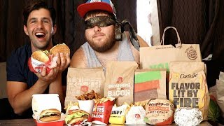 Download BURGER + BLINDFOLD FASTFOOD CHALLENGE! (GUESS THE RESTAURANT) Video