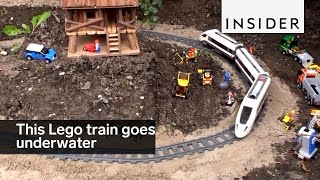 Download This lego train goes underwater Video