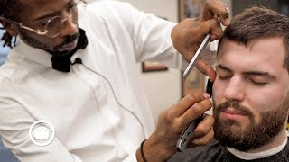 Download Short Textured Haircut with Shaved Lines and Beard Trim | South Austin Barber Shop Video