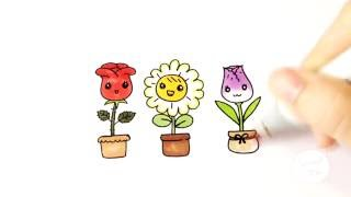 Download วาดดอกไม้น่ารักๆ ทั้ง 3 กันจ้า ♪ How to draw cute flowers ( Rose Daisy and Tulip ) Video
