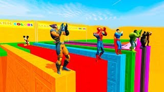 Download LEARN COLORS w/ SUPERHEROES BASE JUMPING and Colour Motorcycles Cartoon for Kids Video