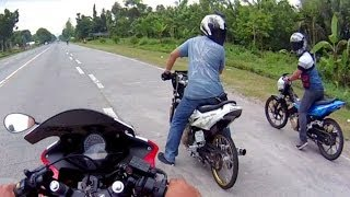 Download Drag Race Honda CBR 150 vs Suzuki RAIDER Belang SATRIA FU 150 Video
