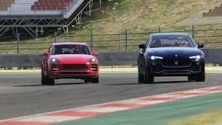 Download Battle Porsche Macan Turbo vs Maserati Levante S Racing at Barcelona Catalunya Video