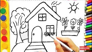 Download Drawing House for Learning Colors and Coloring Pages a Dog for Kids Video