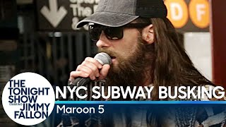 Download Maroon 5 Busks in NYC Subway in Disguise Video