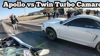Download Apollo Turbo Mustang vs Twin Turbo Camaro in the streets of Wagoner Oklahoma Video