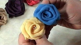 Download DIY, How to make Fabric Flowers Roses, Satin, Chiffon, Tutorial Video