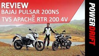 Download TVS Apache RTR 200 4V VS Bajaj Pulsar 200 NS : Review : PowerDrift Video