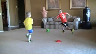 Download Brendan Parry, 6-7 years old, working on soccer skills with his brother, Julian Video