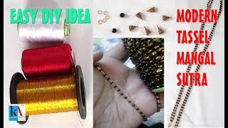 Download How to make tassel mangalsutra with black beads at home // simple and easy mangalsutra tutorial Video