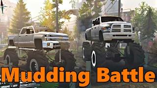 Download Spin Tires | MEGA MUD TRUCKS! Chevy vs Dodge Mudding Video