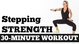 Download 30-Minute Stepping Strength Total Body Workout with Dumbbells no Floor Work, Walking Circuit Workout Video