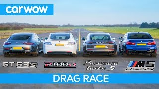 Download Tesla Model S v AMG GT 4 v BMW M5 v Porsche Panamera Turbo S - DRAG RACE, ROLLING RACE & BRAKE TEST Video