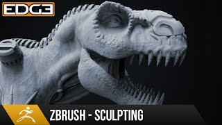 Download #1 Zbrush Sculpting Tutorial for Beginners Series - Organic & Hard-Surface T-Rex 1080p HD Video