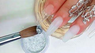 Download Uñas acrílicas Blanco traslúcido y plata + guia de cristales Video