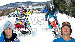 Download SNOWMOBILE vs SNOWBIKE: What's faster in a race? Video
