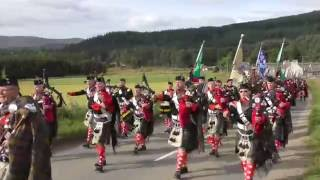 Download 2016 Lonach and Atholl Highlanders march through Strathdon in the Cairngorms Scotland Video