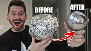 Download GIANT MIRROR POLISHED JAPANESE ALUMINUM FOIL BALL CHALLENGE!! *How To Make Japanese Foil Ball* Video