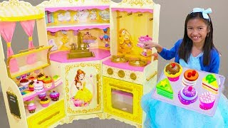 Download Wendy Pretend Play BAKING Donuts & Cupcake toys with DISNEY Princess Belle Kitchen Video