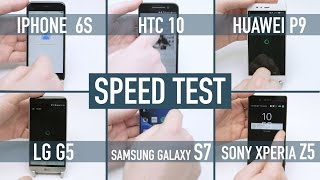 Download Smartphone speed test: iPhone 6S v Galaxy S7 v HTC 10 v LG G5 v Huawei P9 v Xperia Z5 Video