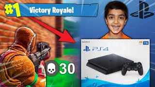 Download I told my 5 year old little brother if he gets a victory royale in Fortnite I will buy him a PS4! Video
