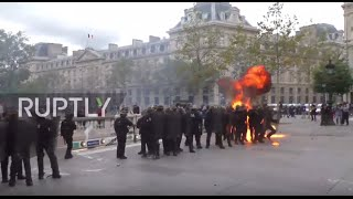 Download France: Molotov cocktails fly as fiery protests rock Paris Video
