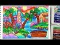 Download Pemandangan Laut - Cara menggambar dan mewarnai dengan gradasi warna oil pastel Video