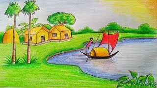 Download How to draw a village scenery Step by step (very easy) Video