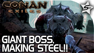 Download Conan: Exiles Gameplay - GIANT CROCODILE BOSS, IRON PIKE, HOW TO MAKE STEEL, EASY BRIMSTONE! -Part 9 Video