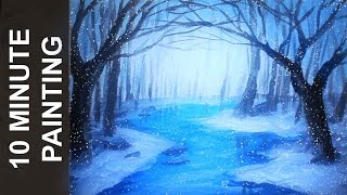 Download Painting a Winter Forest Landscape with Acrylics in 10 Minutes! Video
