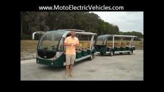 Download 28 Passenger Electric Tram People Mover | Electric Shuttle and Trailer from Moto Electric Vehicles Video