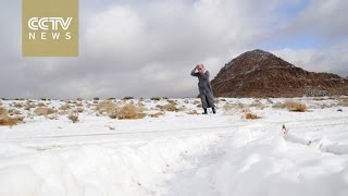 Download Unusual weather: Saudi Arabia desert covered in snow Video