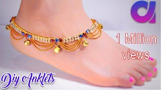 Download How to make silk thread anklets at home | silk thread jewellery | tutorial | Artkala 191 Video