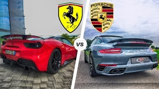 Download Porsche 911 Turbo S 2017 vs Ferrari 488 GTB Exhaust SOUND & Acceleration POV Drive Video