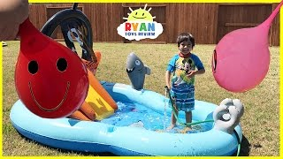 Download Learn Colors with Water Balloons for Children Toddlers and Babies! Kids inflatable water slide Video