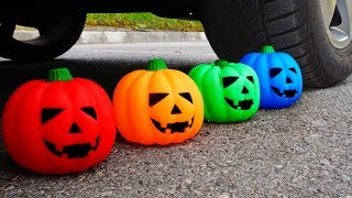 Download Crushing Crunchy & Soft Things by Car! - EXPERIMENT: HALLOWEEN PUMPKINS vs CAR vs FOOD Video