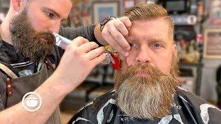 Download Bushy Beard Trim with High and Tight Haircut | The Dapper Den Barbershop Video