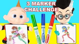 Download 3 Marker Challenge with Jack Jack from Incredibles 2 and Romeo from PJ Masks Video