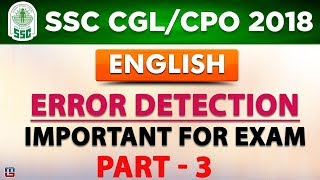 Download Error Detection | Part 3 | SSC CGL 2018 | CPO 2018 | English | Live at 1 PM Video
