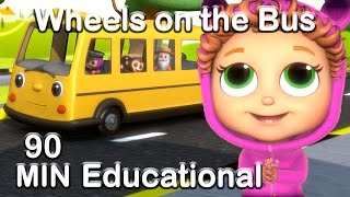Download Wheels on the Bus | Educational Nursery Rhyme Compilation Video