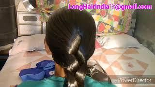 Download Beautiful sleek braid making on oiled hair. longhairindia18@gmail Video