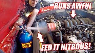 Download GIANT NITROUS SHOT vs. Auction Corvette! Will the Truck Engine Survive!? Video