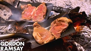 Download Gordon Ramsay Cooks Steak On A Shovel Video