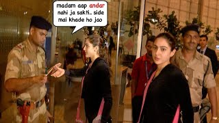 Download Sara Ali Khan's Most EMBARASSING Moment As Security STOPS Her From Entry @Mumbai Airport Video
