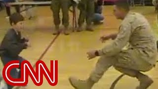 Download A boy with cerebral palsy walks to his Marine dad for the first time Video
