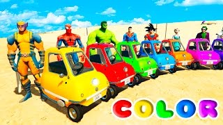 Download FUN LEARN COLORS LITTLE CARS BALL PIT Jumping w/ SUPERHEROES For Childrean Nursery Rhymes Video