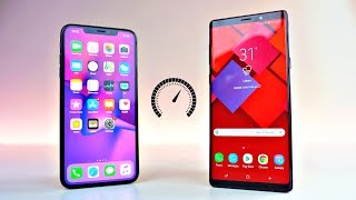 Download iPhone XS MAX vs Samsung Galaxy Note 9 - Speed Test! Video